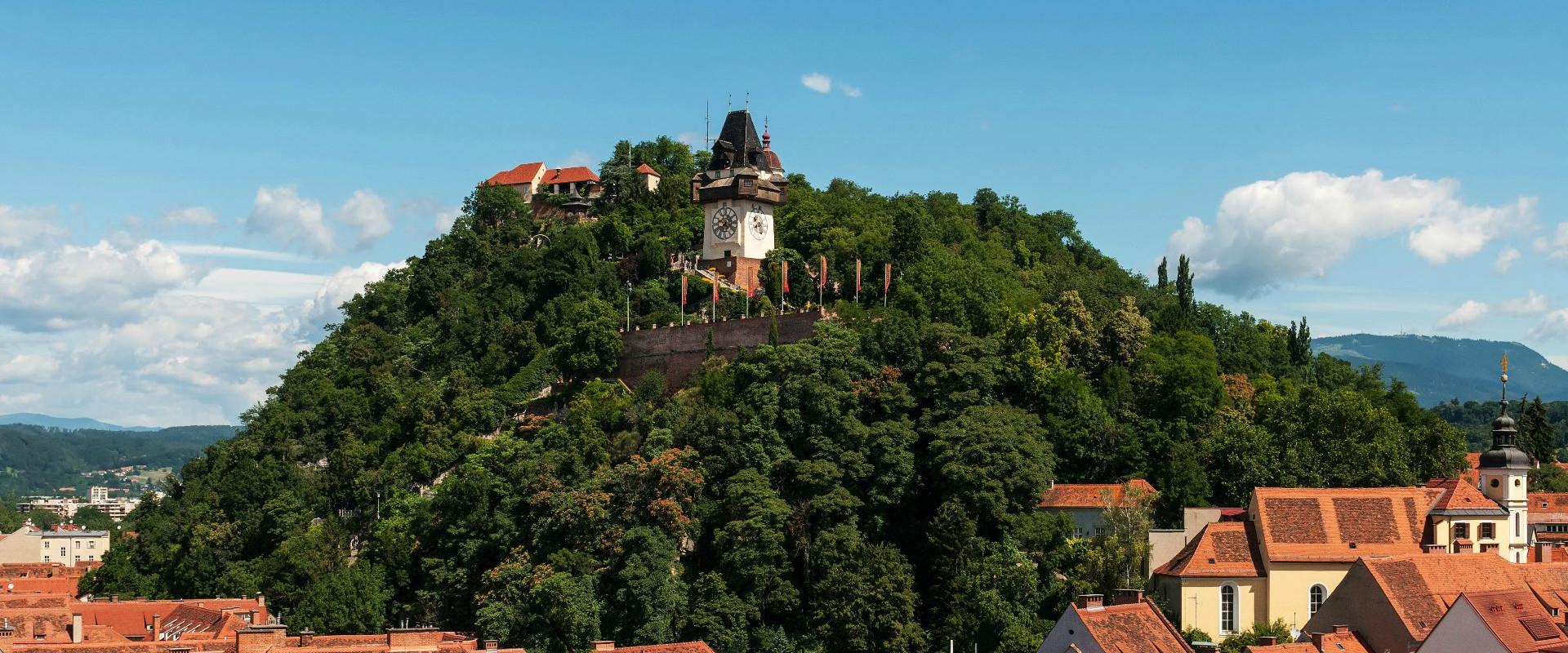 Blick auf den Schloßberg Graz