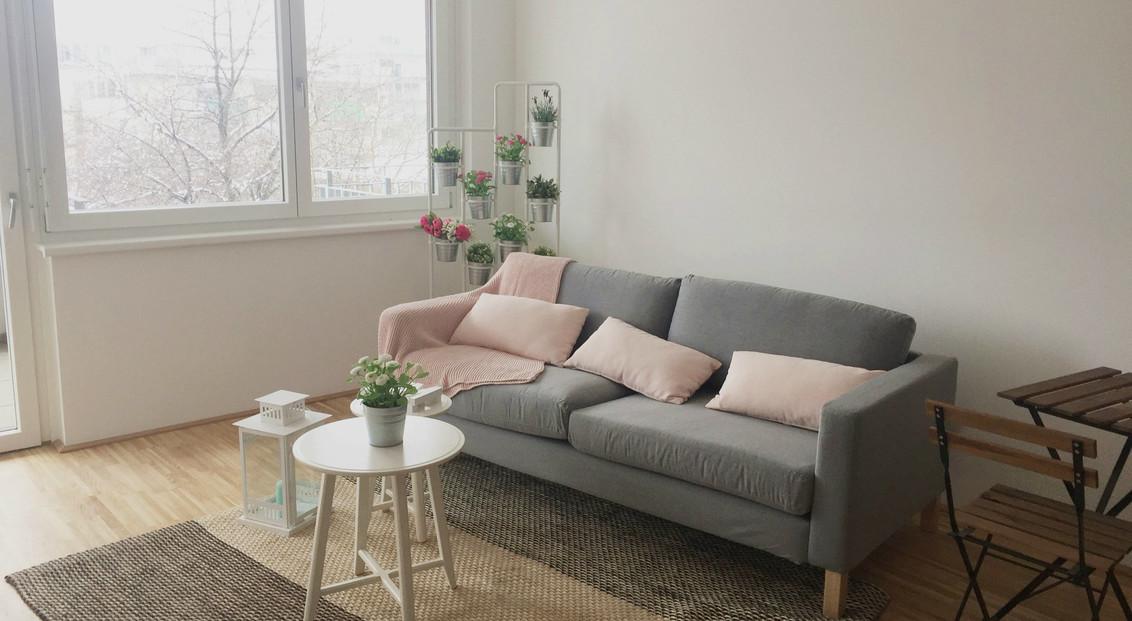 Sofa mit rosa Kissen in Studentenwohnung